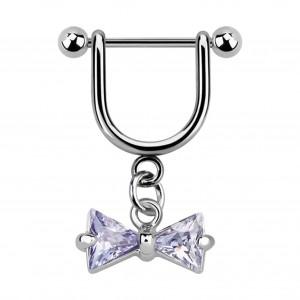 Stirrup Helix Piercing Ring Bar Jewel w/ Dangling Blue Bowtie Zirconia