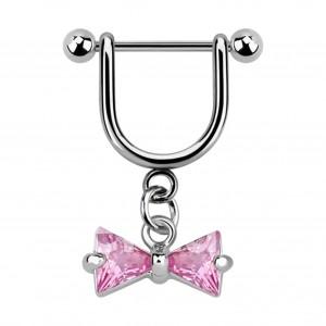Stirrup Helix Piercing Ring Bar Jewel w/ Dangling Pink Bowtie Zirconia