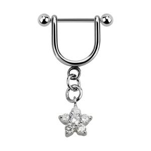 Joya Piercing Hélix Estribo Colgante Zirconia Cúbica Estrella Blanco