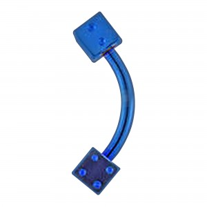 Piercing Arcade Anodisé Bleu Deux Dés