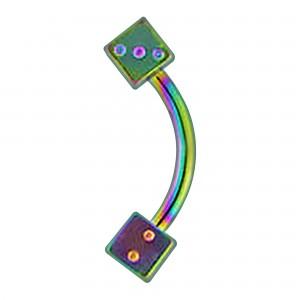 Piercing Arcade Anodisé Multicolore Deux Dés
