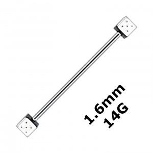 Piercing Industriel Barbell 1.6 mm / 14G Acier 316L Deux Dés