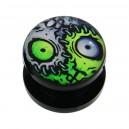 Black Acrylic Ear Plug Flesh Tunnel w/ Zombie Logo