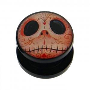 Black Acrylic Ear Plug Flesh Tunnel w/ Mr Jack Logo