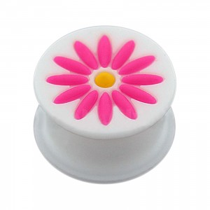Pink/White 12 Petals Flower Biocompatible Silicone Ear Plug