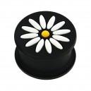 Plug Oreja Silicona Biocompatible Flor 12 Pétalos Blanco / Negro