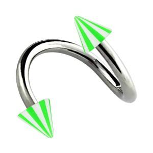 Spirale Piercing Hélix Acrylique Piques Bicolore Vert / Blanc