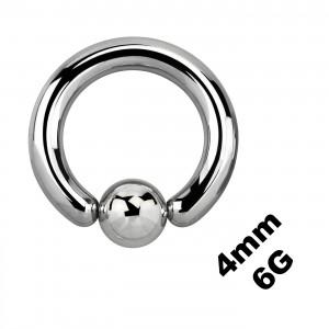 Gros Piercing Anneau Génital / CBR / BCR 4 mm / 6 G