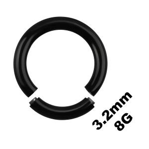 Gros Piercing Anneau Génital / Segment Blackline Anodisé Noir 3.2 mm / 8 G