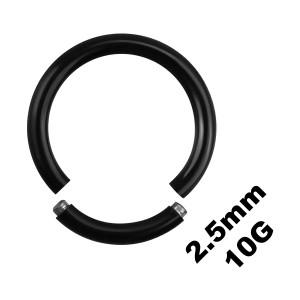 Grueso Piercing Anillo Genital / Segment Blackline Anodizado Negro 2.5 mm / 10 G