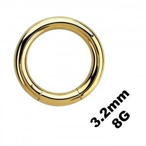 Gros Piercing Anneau Génital / Segment Anodisé Doré 3.2 mm / 8 G