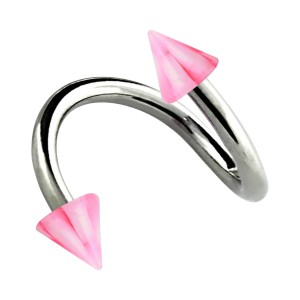Helix Piercing Twisted Ring w/ Pink/White Checkered Spikes