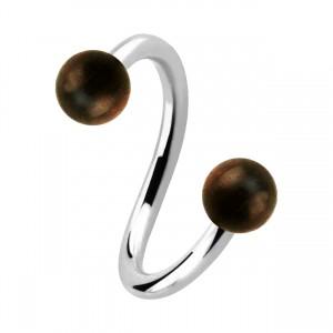 Earlobe/Lip/Helix Twisted Barbell Ring w/ Two Sono Wood Balls