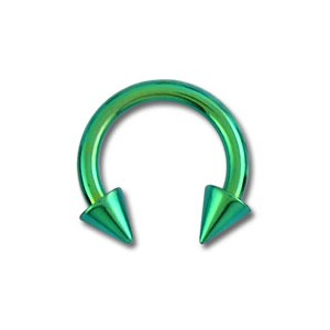 Green Anodized Grade 23 Titanium Tragus / Earlob Ring w/ Two Spikes