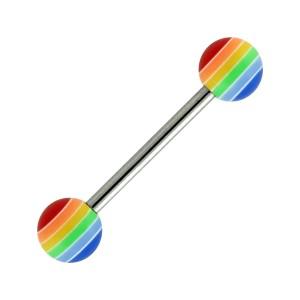 Acrylic Tongue Bar Ring w/ Rainbow Circles
