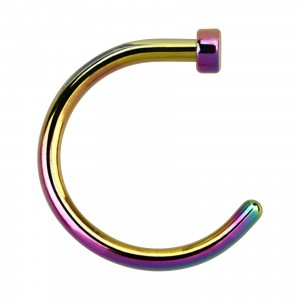 Rainbow Anodized Opened Nose Ring Piercing w/ Top Cylinder