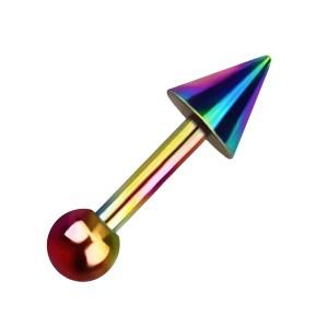 Bijou Piercing Hélix / Tragus Anodisé Multicolore Gros Pique