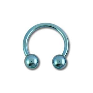 Piercing Tragus / Oreja Titanio Grado 23 Anodizado Azul Claro Dos Bolas