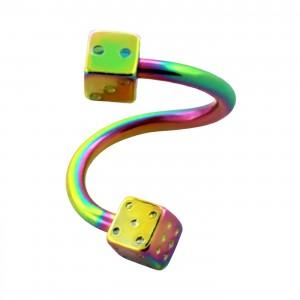 Piercing Helix / Spirale Anodisé Multicolore Deux Dés