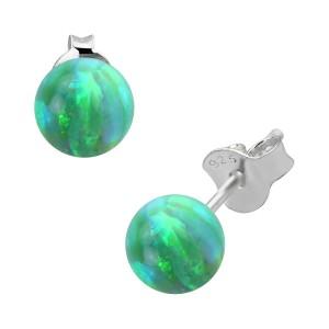 Boucles Oreilles Argent Massif 925 Opale Synthétique Verte