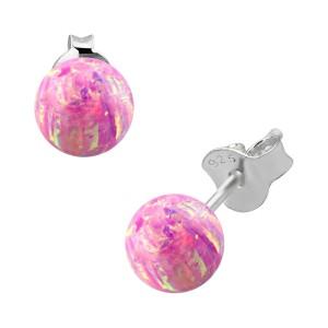 Boucles Oreille Argent Massif 925 Opale Synthétique Rose