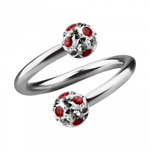 Red Dots White Strass Crystal Earlobe/Lip/Helix Twisted Barbell Ring