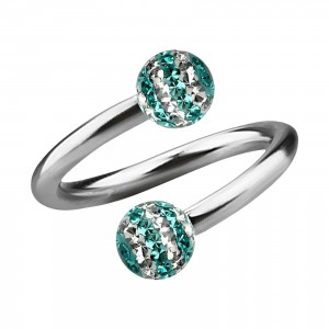 Turquoise Lines White Strass Crystal Earlobe/Lip/Helix Twisted Barbell Ring