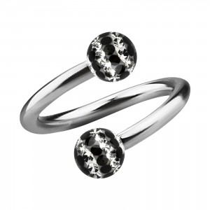 Black Lines White Strass Crystal Earlobe/Lip/Helix Twisted Barbell Ring