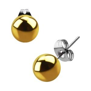 Pendientes Stud Acero Quirúrgico Anodizado Dorado Bola