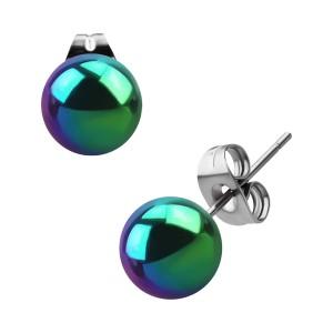 Ball Rainbow Anodized Surgical Steel Earrings Ear Stud Pair