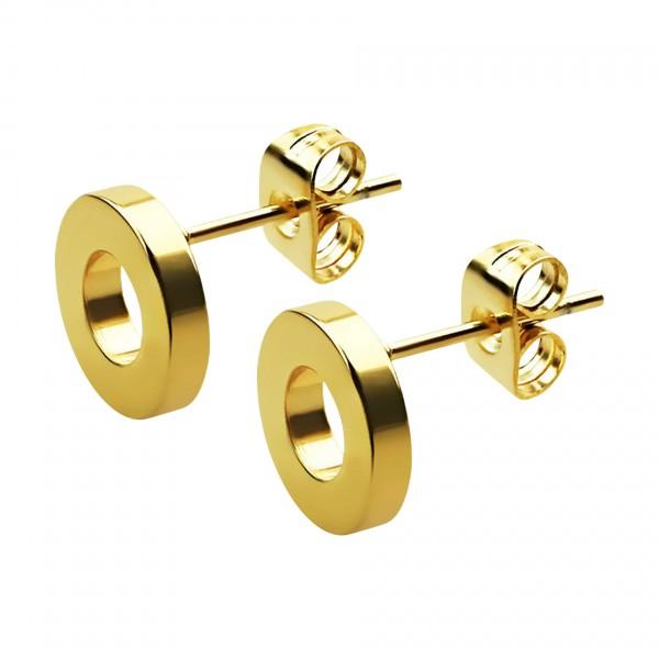 Ohrring Eloxiert Scheibe 316l Dick Groß Stahl Kreis Golden 5Rjc34LqA