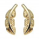 Feather Gold Anodized 316L Surgical Steel Earrings Ear Stud Pair