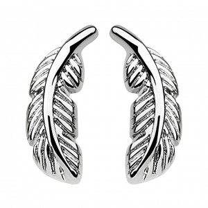Feather Metallized 316L Surgical Steel Earrings Ear Stud Pair
