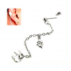 Dolphin 316L Steel Lobe to Tragus Chain Earring Ear Stud [One Piece]
