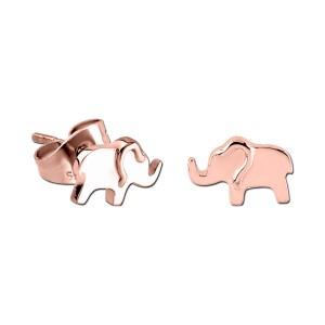 Boucles d'Oreilles Stud Acier 316L PVD Rose Moulées Elephants