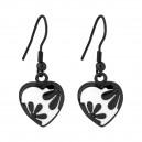 Boucles Oreilles Pendantes Coeur Email Synthétique Fleur PVD Noir