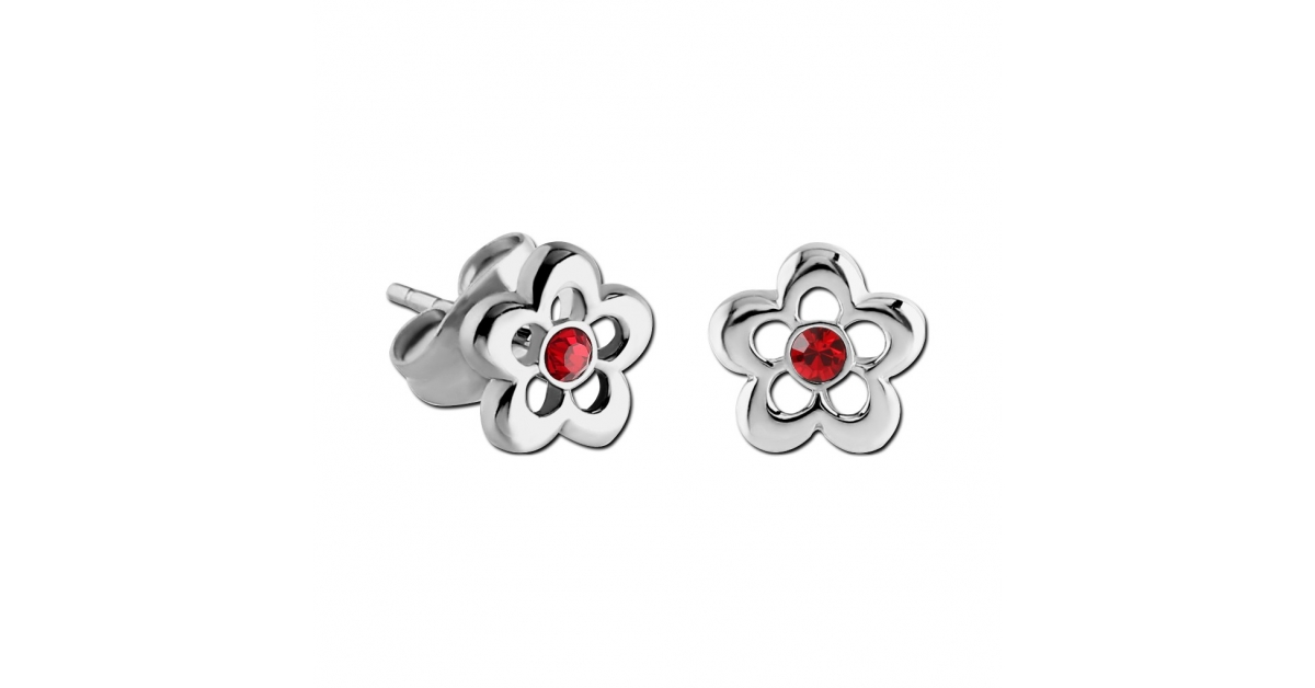Children/'s Red Flower Stud Earring 925 Sterling Silver