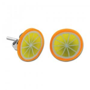 Boucles d'Oreilles Enfant Stud Acrylique Fimo UV Orange Tranche