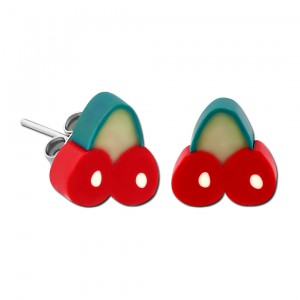 Cherries UV Fimo Acrylic Child Earrings Ear Studs Pair