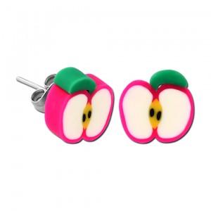 Boucles d'Oreilles Enfant Stud Acrylique Fimo UV Pomme Tranche