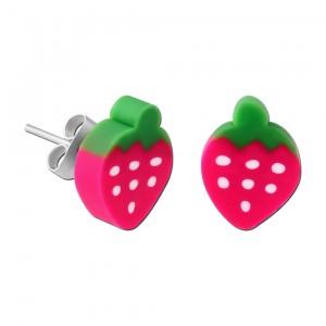 Ohrring Kind Stud Acryl Fimo UV Erdbeere