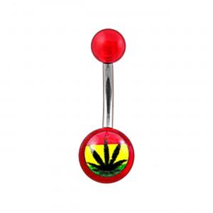 Piercing Nombril Acrylique Transparent Rouge Cannabis