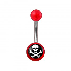 Piercing Nombril Acrylique Transparent Rouge Tête de Mort