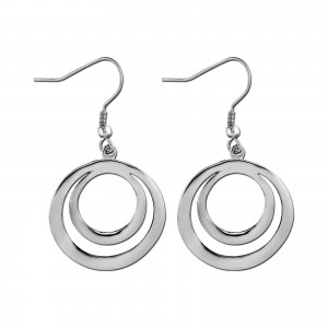 Double Circle Contour 316L Steel Hanging Earrings Ear Pair