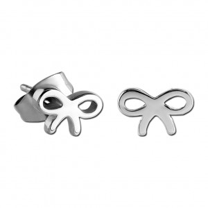 Bow Casting 316L Surgical Steel Earrings Ear Stud Pair