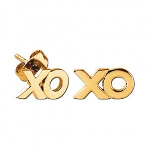 Xoxo Molded Gold PVD 316L Steel Earrings Ear Studs Pair