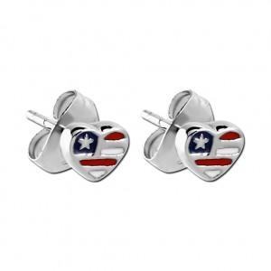 Boucles d'Oreilles Studs Acier Chirurgical 316L Moulées Coeur Drapeau USA