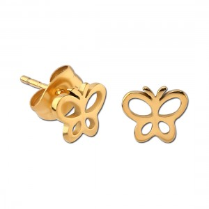 Butterfly Contour Molded Gold PVD 316L Steel Earrings Ear Studs Pair