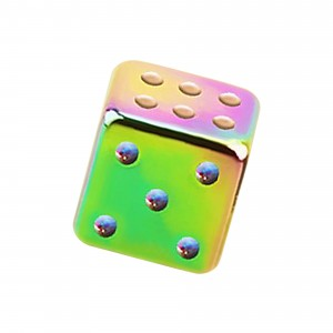 Rainbow Anodized 316L Steel Piercing Only Loose Dice