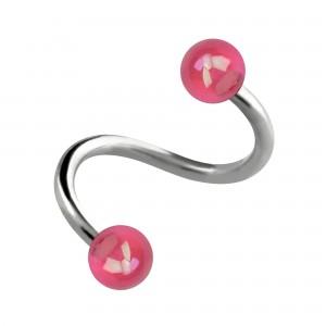Spirale Piercing Hélix Acrylique Miroitant Boules Rose